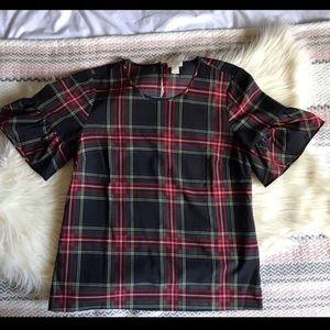 Tartan bell sleeve blouse